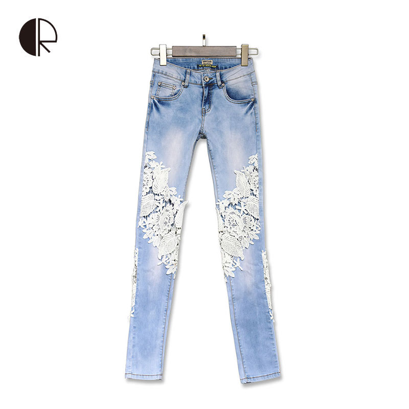2015 Fashion Women Sexy Autumn Lace Holes Large Size Feet Pants Female Trousers Lace Fight Style Denim Trousers Casual Pants(China (Mainland))