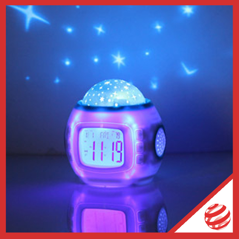 Wholesale-18 p/lot. The newest projection clock with large screen, colorful star project, just dance in house like disco!(China (Mainland))