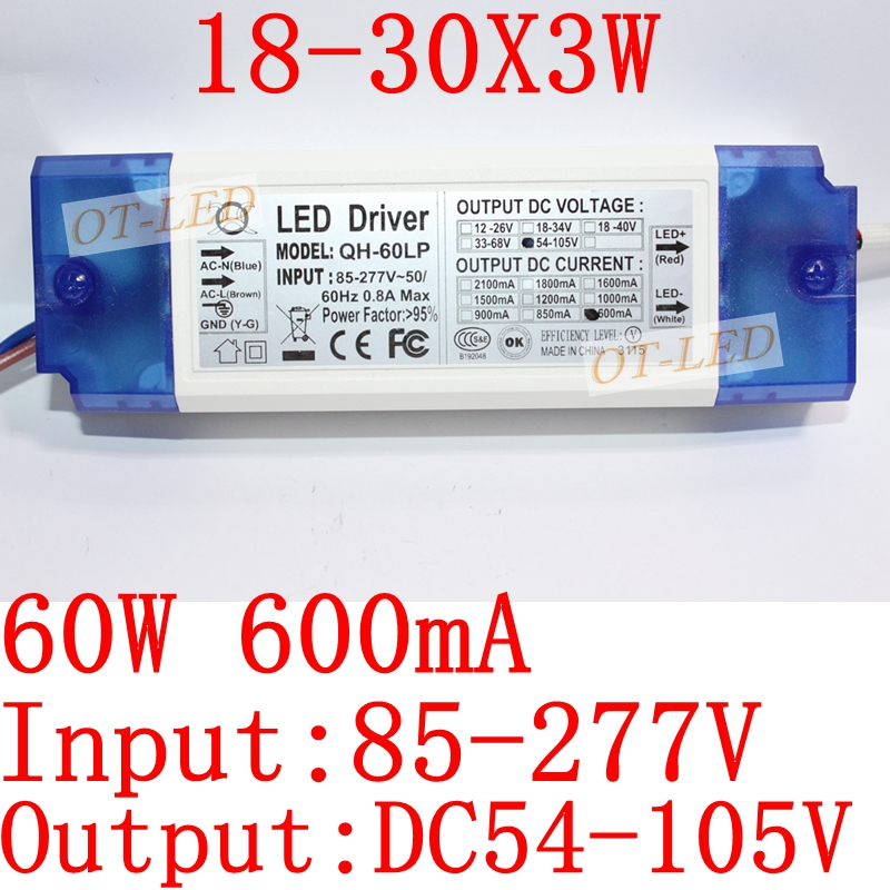 1Pieces 40W 50W 60W LED Driver 18-30x3W 600mA DC54-105V High Power LED Powr Supply For Floodlight<br><br>Aliexpress