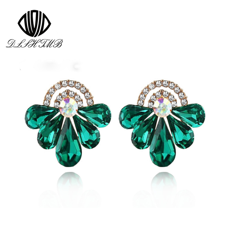 2016 New Fashion Alloy Earings Fashion Jewelry Green Water Drop Crystal Earrings for Women's Gift Jewelry Wholesale(China (Mainland))