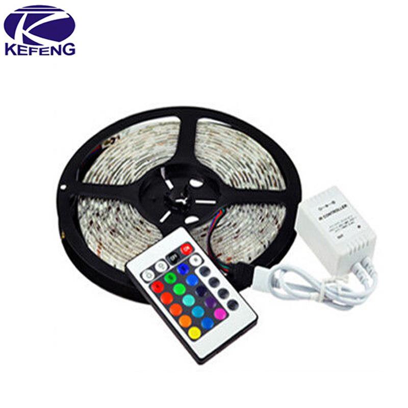 Good quality 5M/roll RGB 3528 SMD Flexible Waterproof 300 LED Strip Light set+ 24 key IR Remote Control Manufacture wholesale(China (Mainland))