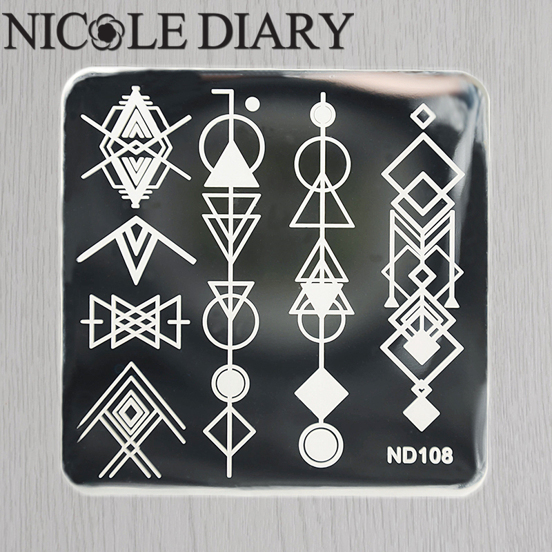 NICOLE DIARY-108 Nail Art Stamping Image Plates Stainless Steel geometric Patterns High Quality DIY Stamping Template 26249(China (Mainland))