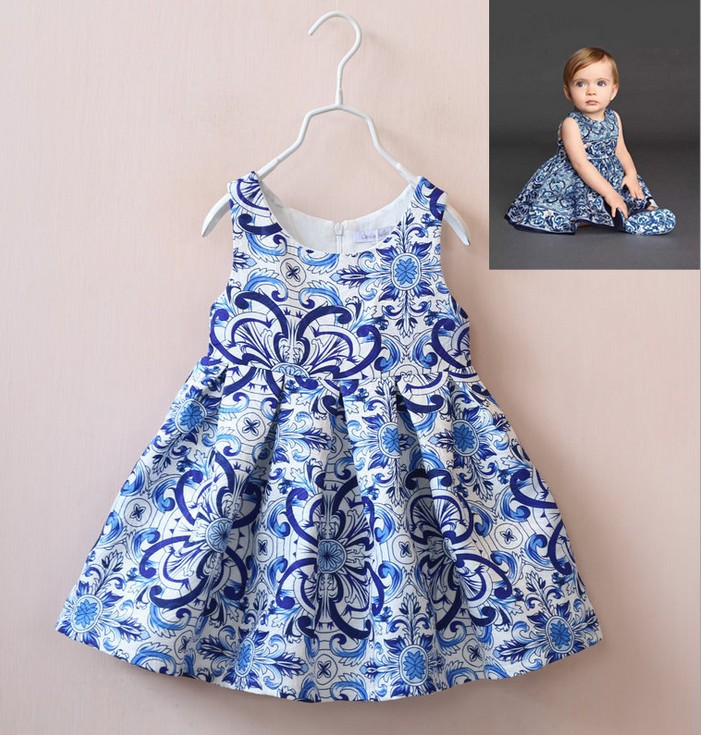 Brand Girls Baby Blue and white porcelain dress Childrens vest dresses kids Autumn and winter clothing wholesale<br><br>Aliexpress