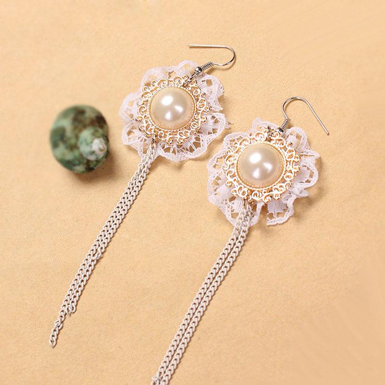 2015 Fashion elegant High Quality white lace flower Tassel Dangle Earring pearl Long Earrings for wedding women girl(China (Mainland))