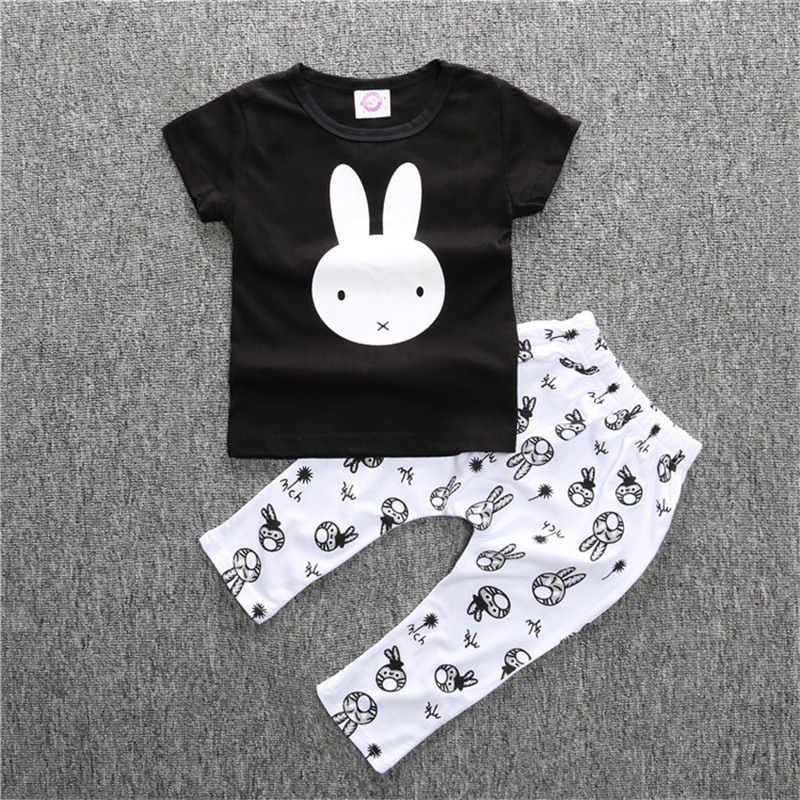 Little rabbit printing o-neck T-shirt and novel printing pants New kids fashion infant clothes baby causal clothing sets(China (Mainland))