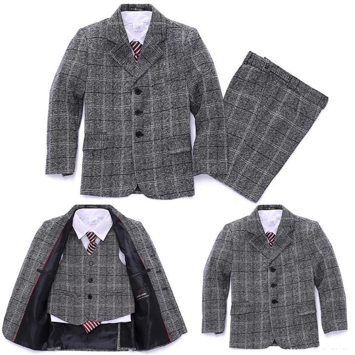 Plaid Blazers jackets suits for Boy Clothing set 3 piece Formal suit Baby boys Blazer suit Kids clothes Blazer infantil(China (Mainland))