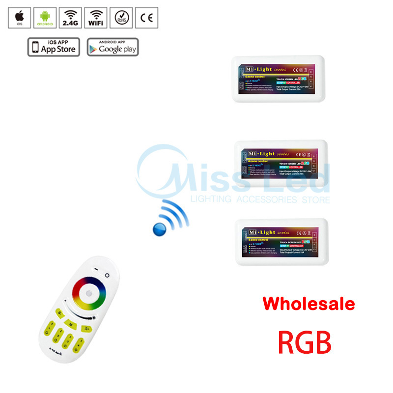 Wholesale 1x 2.4G RF remote+3x RGB controller For RGB Led Strip Light Lamp Bulb 4-zones touch screen wireless Wifi control(China (Mainland))