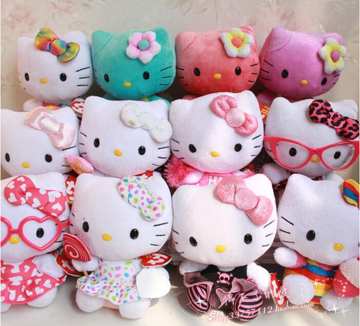 TY Sanrio hello kitty doll plush toys for baby girls KT dolls(China (Mainland))