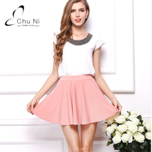 Buy Chu Ni Womens Skirts Cute Ladies Skirts Mini Spring Solid Candy Color Knee Line Skirt Casual Pleated Shirts X003 for $10.43 in AliExpress store