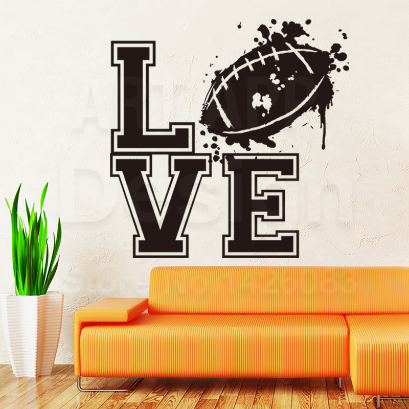 New design home decoration vinyl Love Rugby sports Wall Sticker colorful Cheap American football decals for house decor in rooms(China (Mainland))
