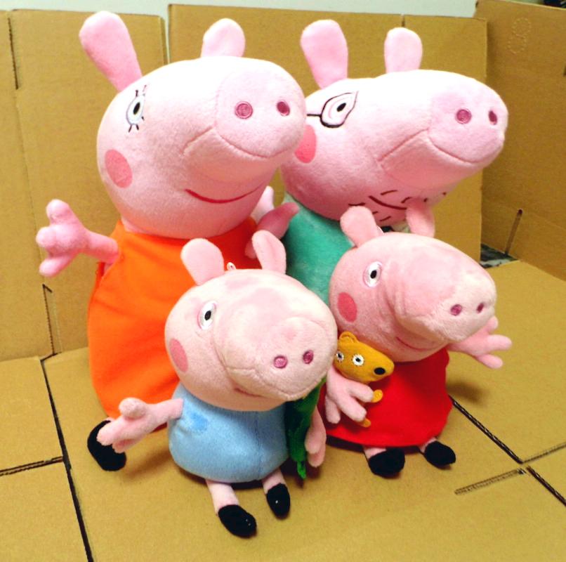 4 pcs Peppa pig Family plush toy 30cm DADDY MUMMY 19cm Peppa GEORGE(China (Mainland))