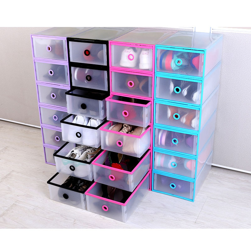 2015 FASHION 5PCS/SET Multi-function Clear Foldable Strong Plastic Shoes box Storage Box Organizer Drawers Stackable Organizer(China (Mainland))
