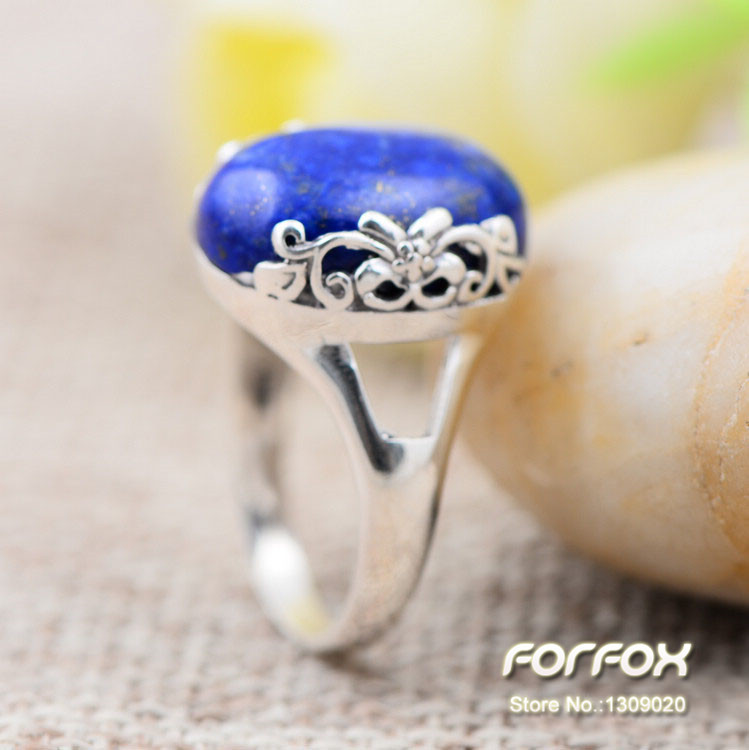 New Fashion Blue Lapis Lazuli Silver Ring 925 Sterling for Women Size 6 7 8 Free Shipping<br><br>Aliexpress