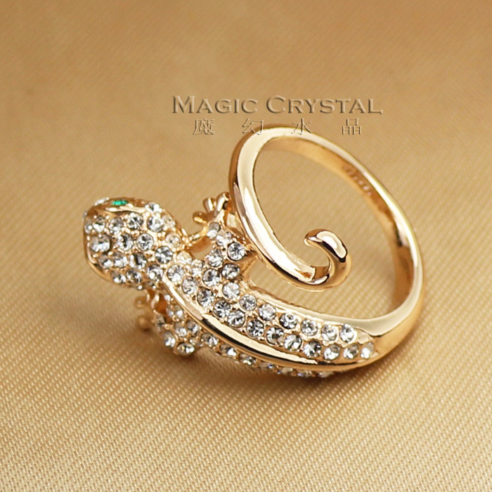 Free Shipping Crystal Ring Italina Rigant Jewelry Wholesale 18k rose Gold Plated Fashion animal lizard rings women's Gift(China (Mainland))