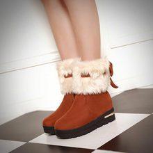 Mujeres de la manera Zapatos de Invierno Cálido Botines Plataforma de proa Plana cuñas de Punta redonda Botas de Nieve plataforma botas de piel de tamaño grande 34-43(China (Mainland))