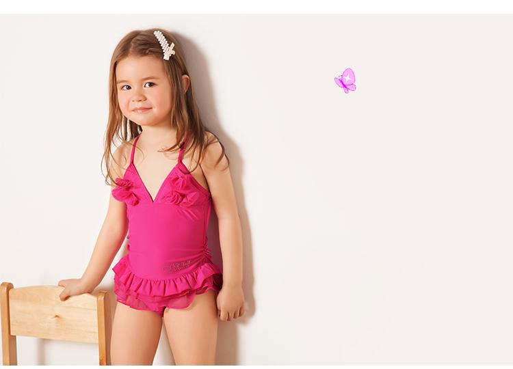 Cute girls bathing suit kid girl swimwear children one piece swim wear Pink Yellow Green lovely swimsuit 3-12 age swimmer - Summer Trade store