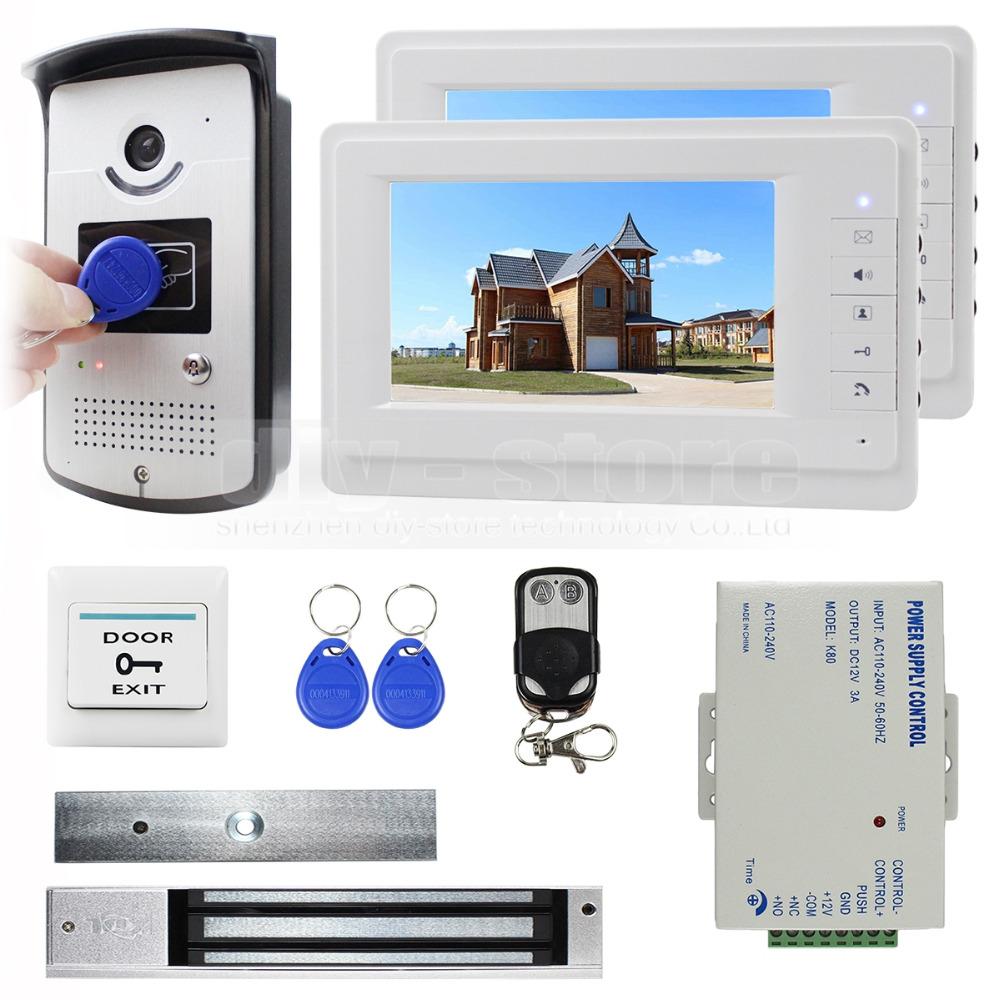 7 inch Monitor Video Door Phone Video Intercom Entry System 700TVL Camera RFID Keyfob Remote Control Unlock(China (Mainland))