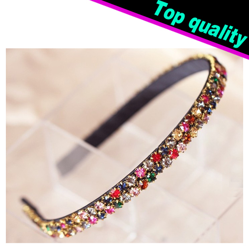2015 New Hot Sale Korean Fashion Colorful Rhinestone Crystal Hairbands Headbands For Women Hair Accessory Glitter Hair Jewelry(China (Mainland))