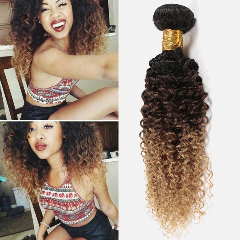 Гаджет  Cheap Brazilian Curly Virgin Hair Bundles 3pcs Brazilian Kinky Curly Virgin Hair Ombre Three Tone Curly Hair Weave 1b 4 27 30 None Волосы и аксессуары