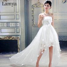 Customize High Low Short Beach Wedding Dress Cheap Plus Size Bridal Gowns Vintage Weddings Dresses Vestidos 2016 Retail D-8011(China (Mainland))