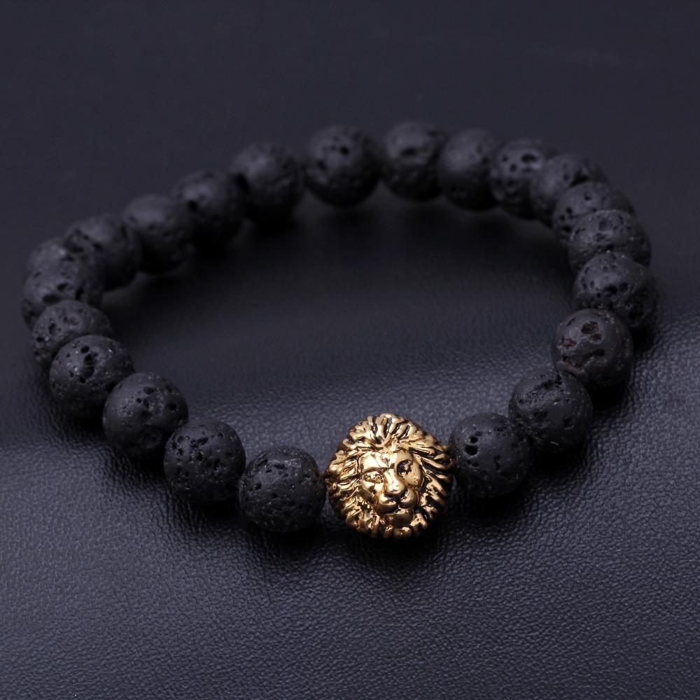 Fashion woman man plating gold silver chain bracelet crystal lava stone lion skeletons Tiger Eye Beads Bracelet Jewelry Gift(China (Mainland))