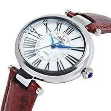 Ibso mujeres del cuarzo de caracteres romanos Oval Dial movimiento importado analógico reloj de pulsera a prueba de agua banda de cuero 0650
