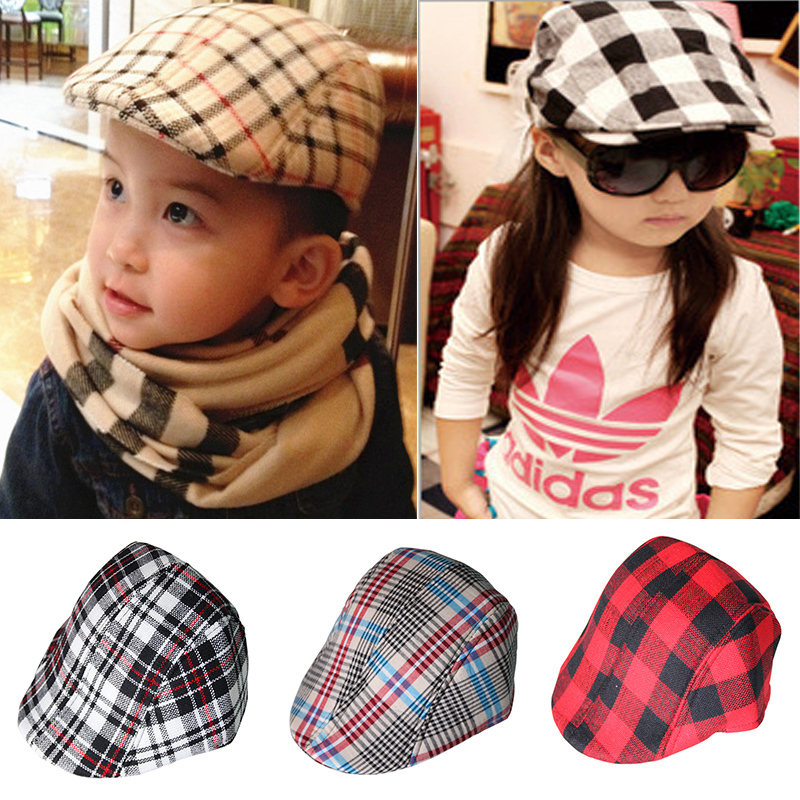 (18 Colors) Free Shipping 2015 New Cute Plaid Kid Baby Hat Baby Beret Cap For Boy Baby Baseball Cap Detective Girl Hat Casquette(China (Mainland))