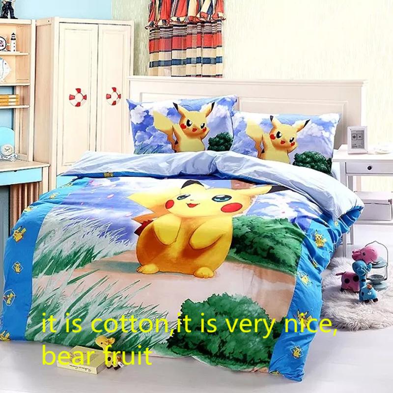 Cotton Pokemon cartoon bedding set Christmas Gift kids pikachu duvet cover set ,Pillowcase bedsheet 3pc bed sets twin full queen(China (Mainland))