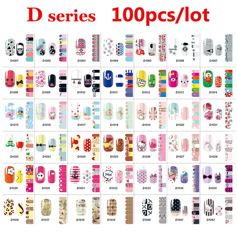 100pcs Full Cover Nail Art Decal Wraps Stickers Flowers Christmas Design Adhesive Polish Foils Nail Patch DIY Nail Decorations(China (Mainland))