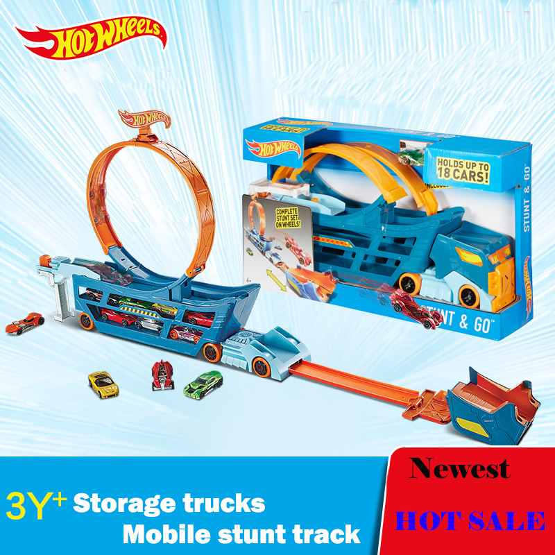 Hot Wheels Stunt N'' Go Mobile TS Move Track DWN56 Car Toys Educational Truck Toys Best Boy Juguetes Gift Hold 18 Sports Car(China (Mainland))