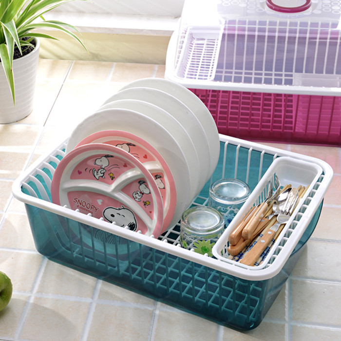New Kitchen Practical  Dishes Storage Rack  Home Big Size Floor Type Double Layer Draining Shelf With Transparent  Cover(China (Mainland))
