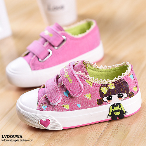 free shipping Childrens canvas shoes female 2015 princess shoes shoes low sliding shoes sports shoes, painted<br><br>Aliexpress