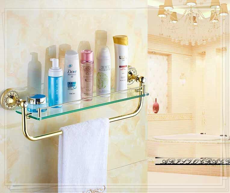 Diamond Deco Wall Mounted Bathroom Shelf Glass Tier Storage Holder W/ Towel Bar single faucet(China (Mainland))