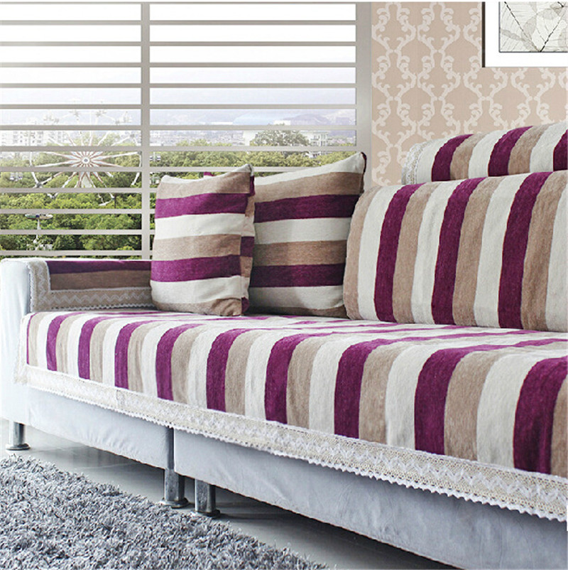 Striped corner sofa covers set chenille flocked sectional for Canape sofa cover