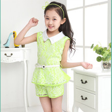 3-14Y Summer Girl Lace Suit Quality Fabrics Children's Clothing Fashion Girl Sets Sleeveless Clothes Pants Girls two-piece Sets