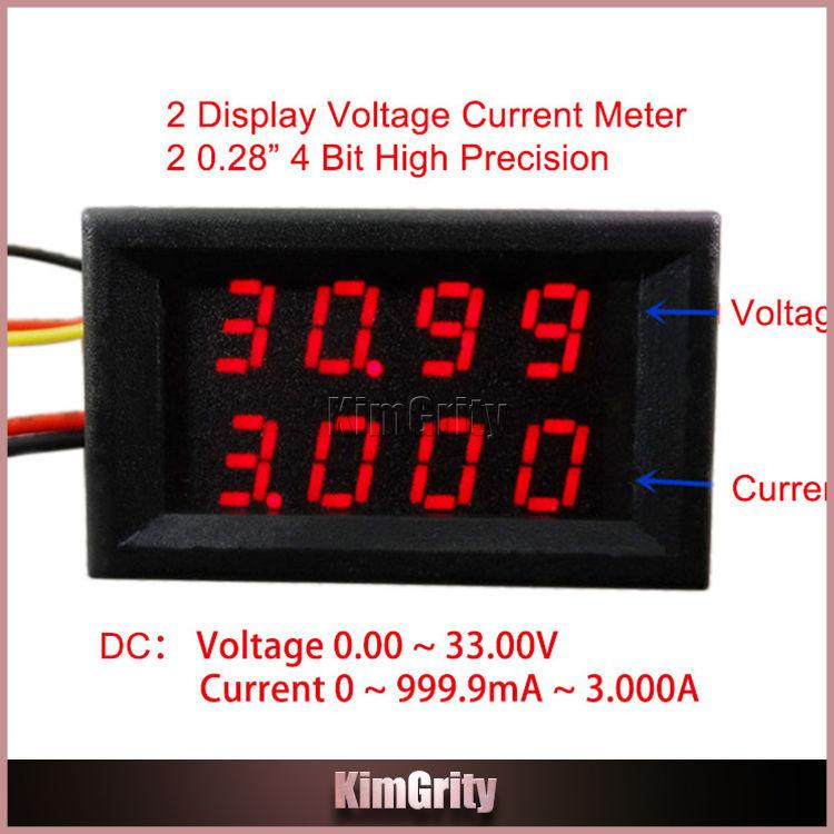 4 Bit dual Digital LED Voltage Current Meter Head DC 0-33.00V / 0-999.9mA-3A Variable Precision Voltmeter Ammeter Red(China (Mainland))