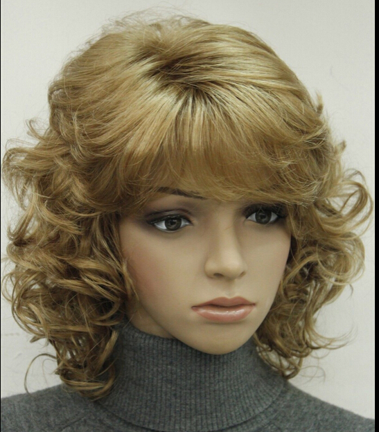 suyushun207++Light Strawberry Blonde Short Curly Women ladies Synthetic Fluffy Wig LTLD209(China (Mainland))