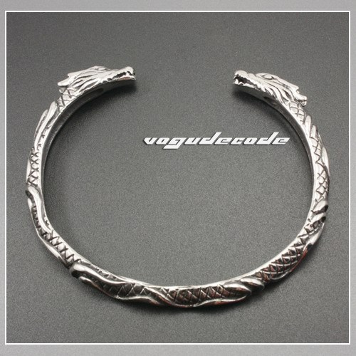 Cool 316L Stainless Steel Men`s Dragon Bangle Bracelet 5J008