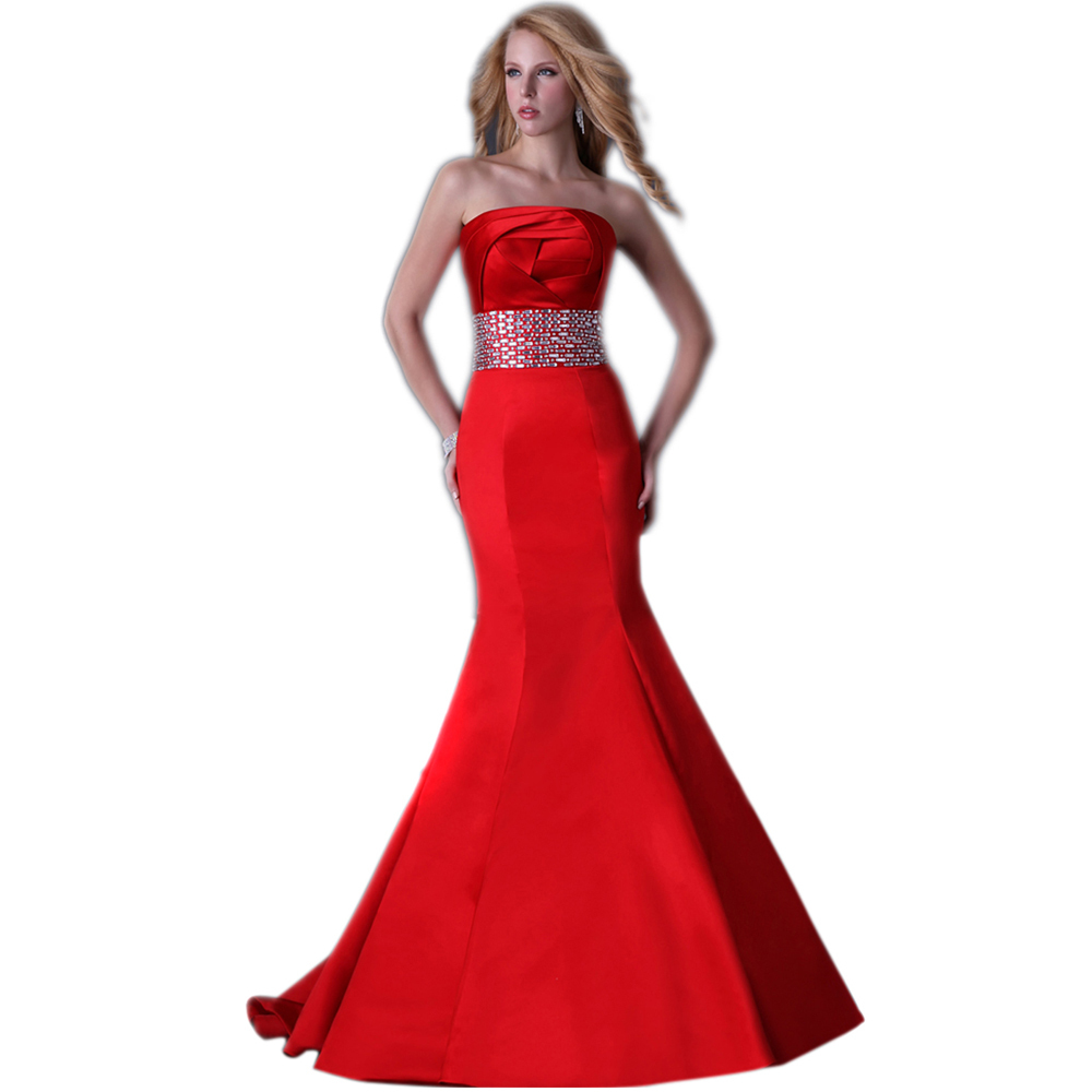 Free shipping cheap satin red long mermaid wedding dress for Princess corset wedding dresses