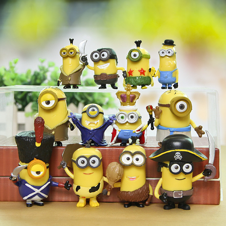 pokemon12pcs despicable me minions small yellow people pet shop big eyes meng hand office earners ornaments(China (Mainland))