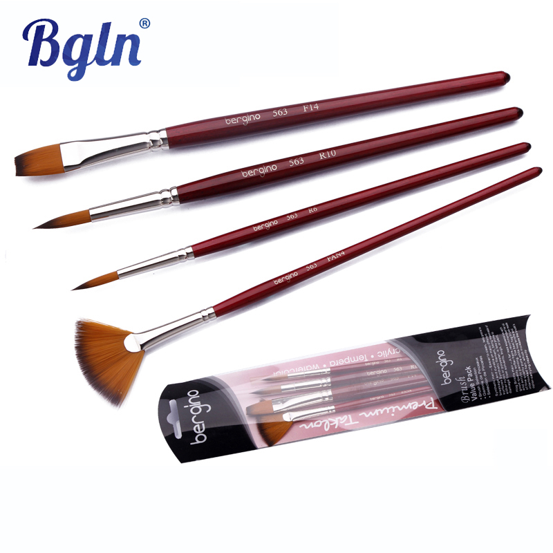 Bgln 4Pcs Oil Acrylic Nylon Hair Paint Brushes For Artist For Painting Drawing Gouache Watercolors Art Supplies 563(China (Mainland))