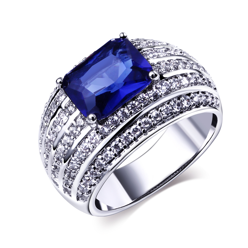 blue stone engagement rings real gold plated with cubic zirconia luxury cz ring new design fashion - Stone Wedding Rings