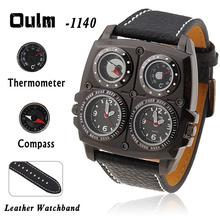 Caso negro OULM 1140 reloj militar del ejército zona horaria múltiple del termómetro del compás Voyager rusia reloj Dial del Metal Military Men