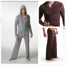 Men's yoga twinset tops+pants comfortable ice silk fabric sleep Sleepwear causal Home family pyjamas Night  bath clothes sweater(China (Mainland))