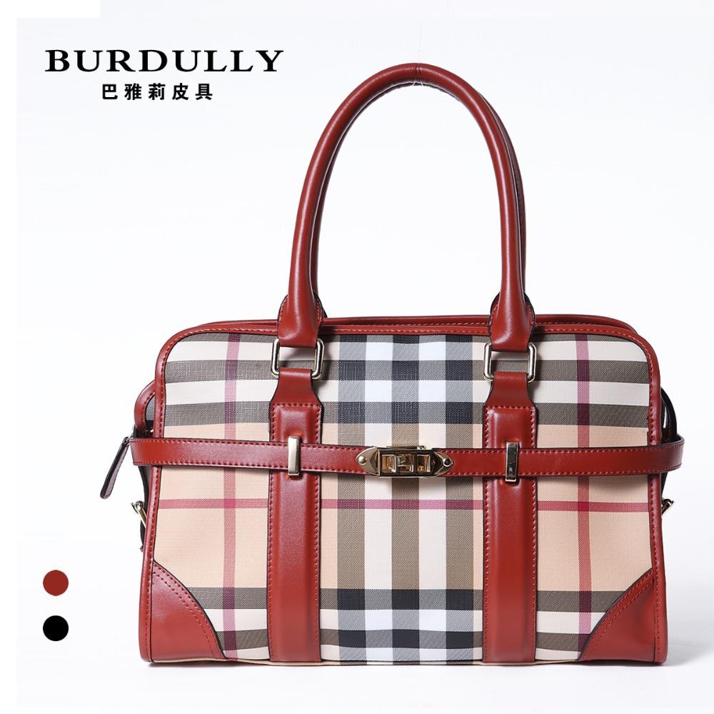 Women Bolas Genuine Leather Tote Bag Luxury Brand Classical Plaid Women's HandBag YL008 - Discount store