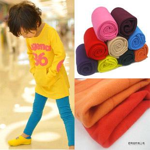 2013 autumn and winter child candy color 9 untucked female child thickening nap plus velvet legging pants