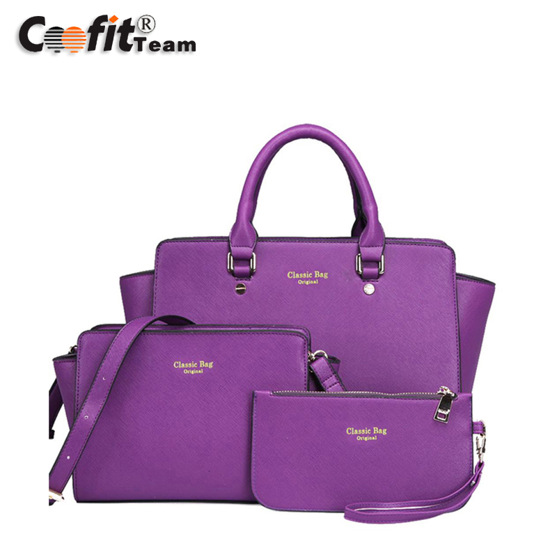 Classic bags  Fashionable Cute PU Leather Tote Messengers Bag Pouch Set  handbags three piece a set<br><br>Aliexpress