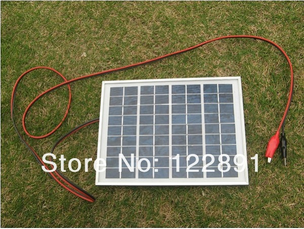 New Arrival 5W Polycrystalline Solar Panel+Crocodile Clip For 12V Car/Boat/Motor Battery Portable Solar Charger Free Shipping(China (Mainland))