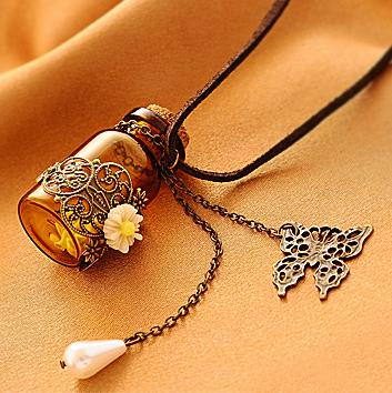 XL024 fashion accessories carved long design leather necklace vintage tampion wishing bottle necklace f(China (Mainland))