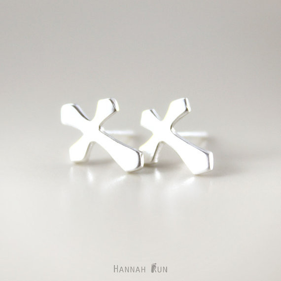 Cross stud earring - gold or silver post Crucifix simple earrings<br><br>Aliexpress